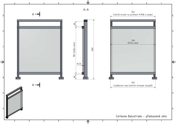 Ukázka grafického návrhu skleněného zábradlí